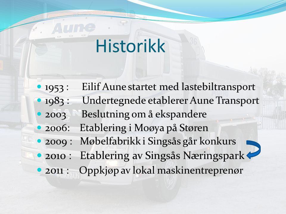 Historikk 1953 : Eilif Aune startet med lastebiltransport 1983 : Undertegnede etablerer Aune Transport 2003 Beslutning om å ekspandere 2006: Etablering i Moøya på Støren 20o9 : Møbelfabrikk i Singsås går konkurs 2010 : Etablering av Singsås Næringspark 2011 : Oppkjøp av lokal maskinentreprenør