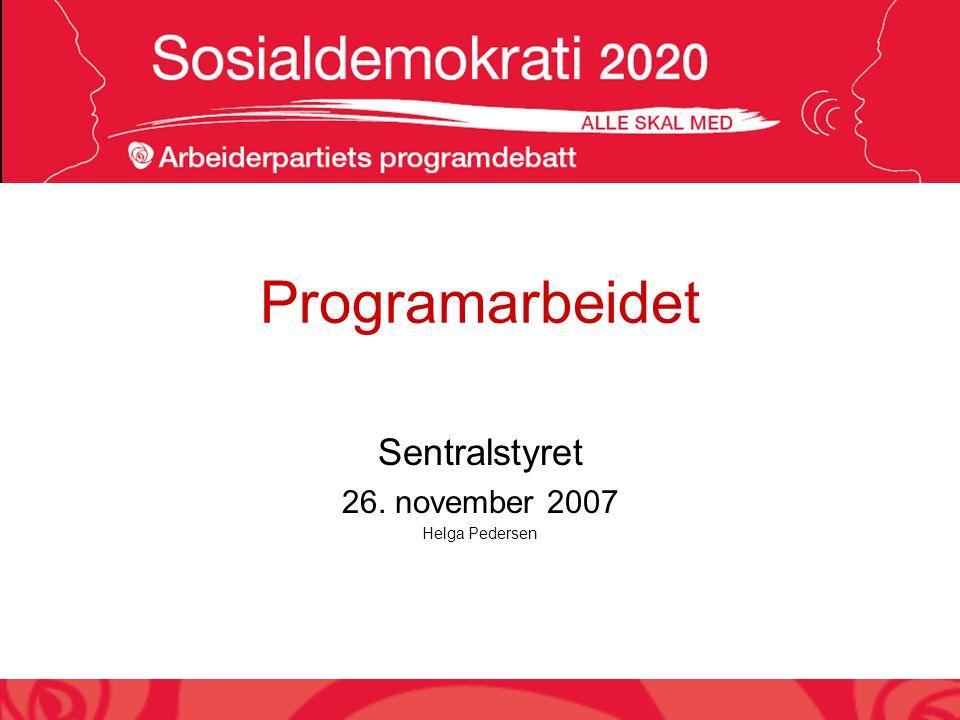 Programarbeidet Sentralstyret 26. november 2007 Helga Pedersen
