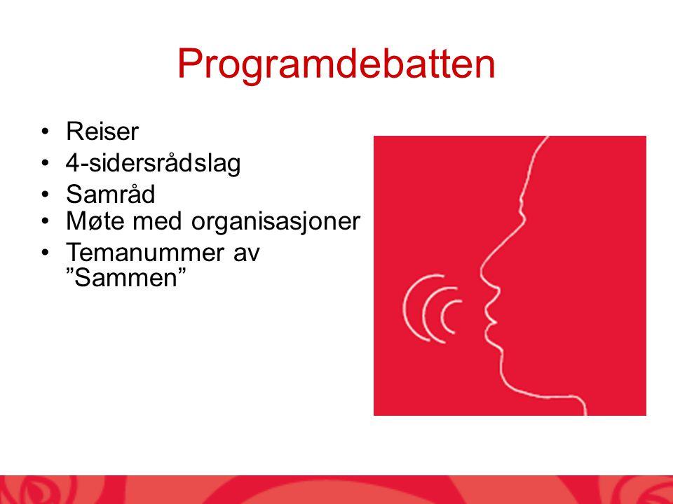 Programdebatten Reiser 4-sidersrådslag Samråd Møte med organisasjoner Temanummer av Sammen
