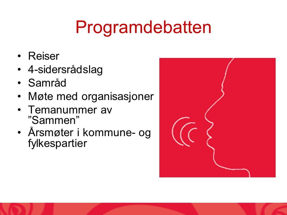 Programdebatten Reiser 4-sidersrådslag Samråd Møte med organisasjoner Temanummer av Sammen Årsmøter i kommune- og fylkespartier