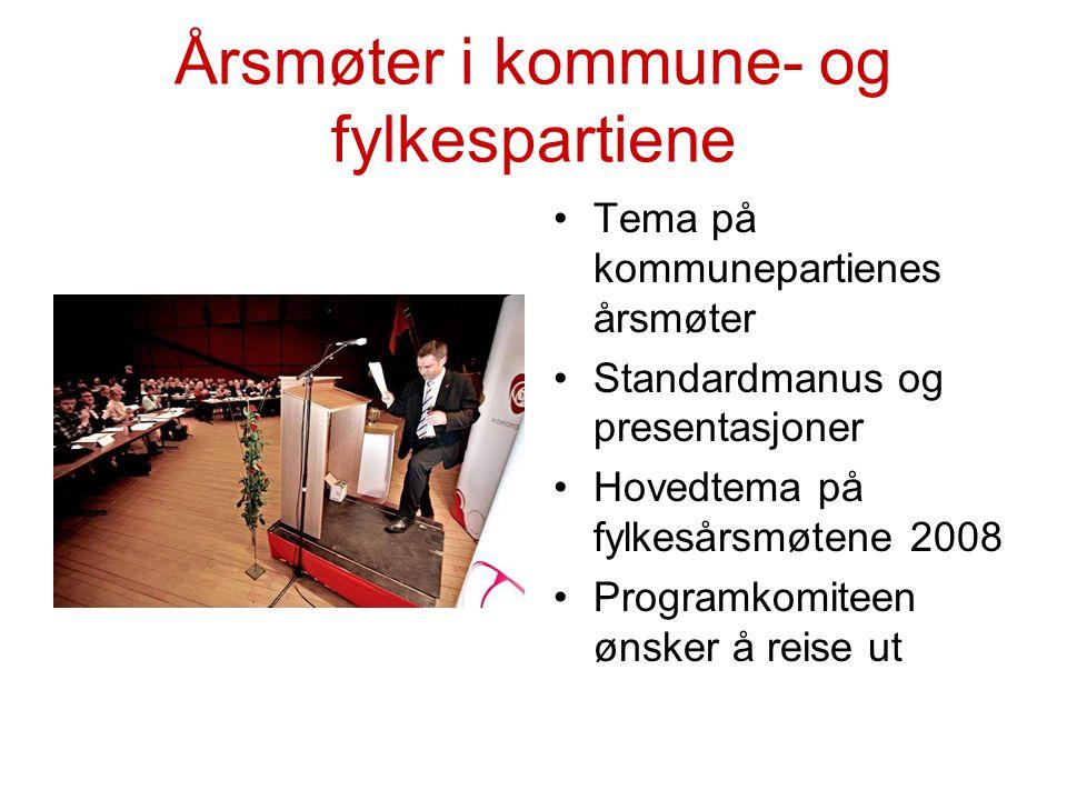 Programdebatten Reiser 4-sidersrådslag Samråd Møte med organisasjoner Temanummer av Sammen Årsmøter i kommune- og fylkespartier Internett