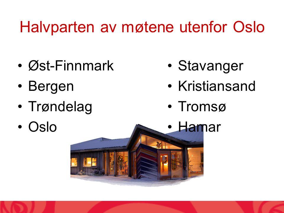 Halvparten av møtene utenfor Oslo Øst-Finnmark Bergen Trøndelag Oslo Stavanger Kristiansand Tromsø Hamar