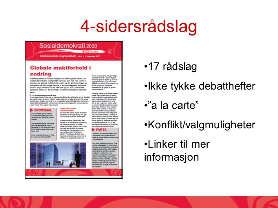 17 rådslag Ikke tykke debatthefter a la carte Konflikt/valgmuligheter Linker til mer informasjon