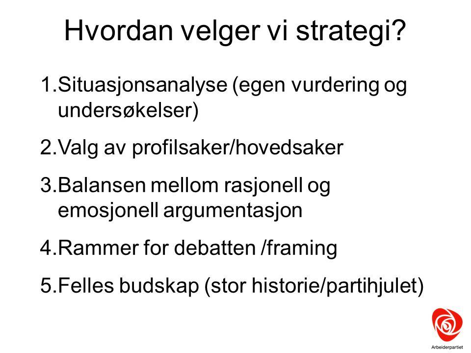 Hvordan velger vi strategi? 1.Situasjonsanalyse (egen vurdering og undersøkelser) 2.Valg av profilsaker/hovedsaker 3.Balansen mellom rasjonell og emos