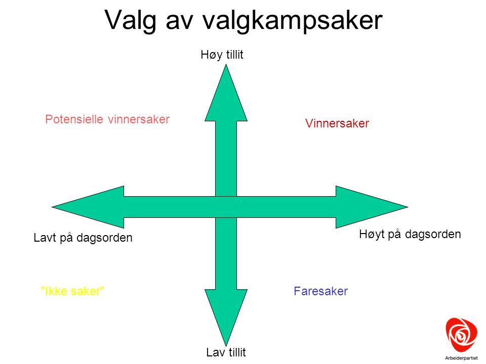 """Valg av valgkampsaker Høyt på dagsorden Lavt på dagsorden Høy tillit Lav tillit Vinnersaker Potensielle vinnersaker """"Ikke saker""""Faresaker"""