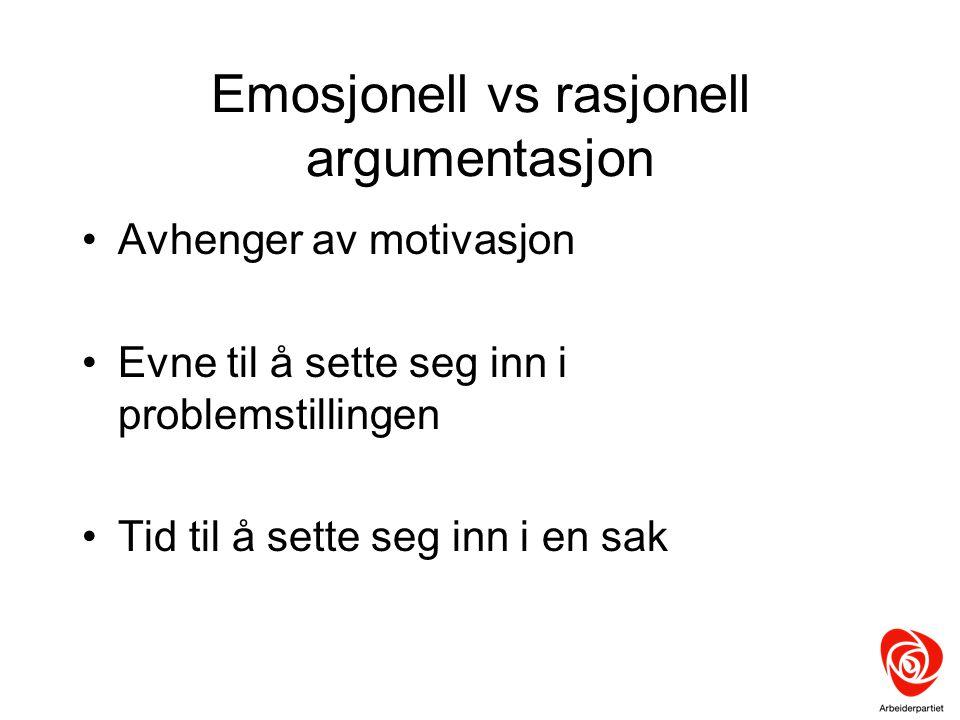 Emosjonell vs rasjonell argumentasjon Avhenger av motivasjon Evne til å sette seg inn i problemstillingen Tid til å sette seg inn i en sak