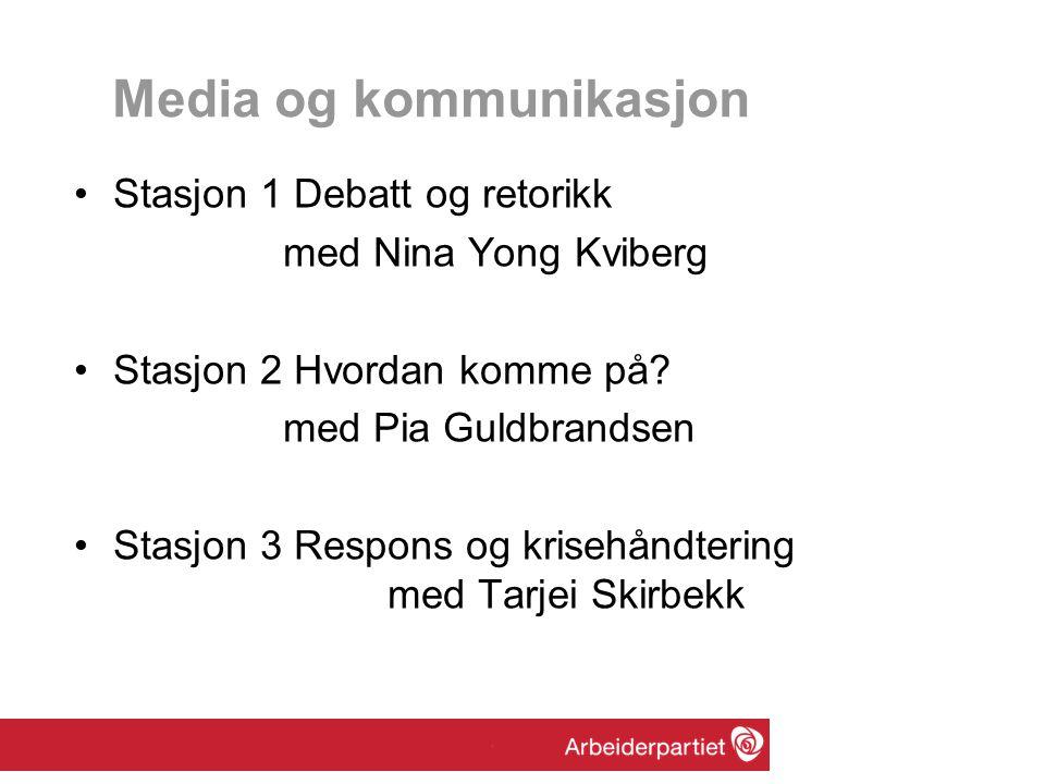 Media og kommunikasjon Stasjon 1 Debatt og retorikk med Nina Yong Kviberg Stasjon 2 Hvordan komme på? med Pia Guldbrandsen Stasjon 3 Respons og kriseh