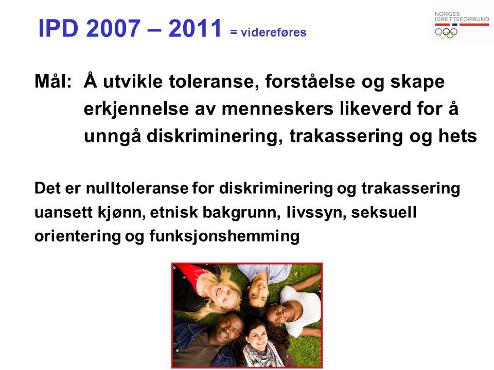 IPD 2007 – 2011 = videreføres Mål:Å utvikle toleranse, forståelse og skape erkjennelse av menneskers likeverd for å unngå diskriminering, trakassering