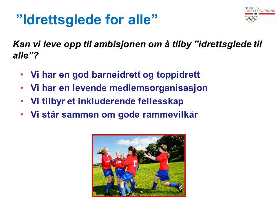 """""""Idrettsglede for alle"""" Vi har en god barneidrett og toppidrett Vi har en levende medlemsorganisasjon Vi tilbyr et inkluderende fellesskap Vi står sam"""