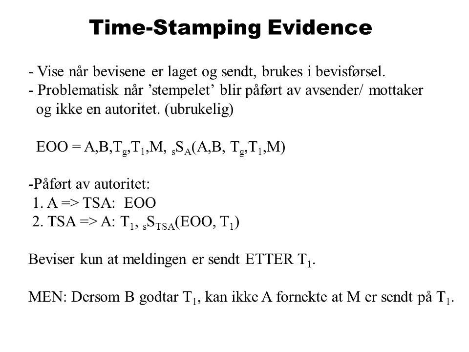 Time-Stamping Evidence - Vise når bevisene er laget og sendt, brukes i bevisførsel.