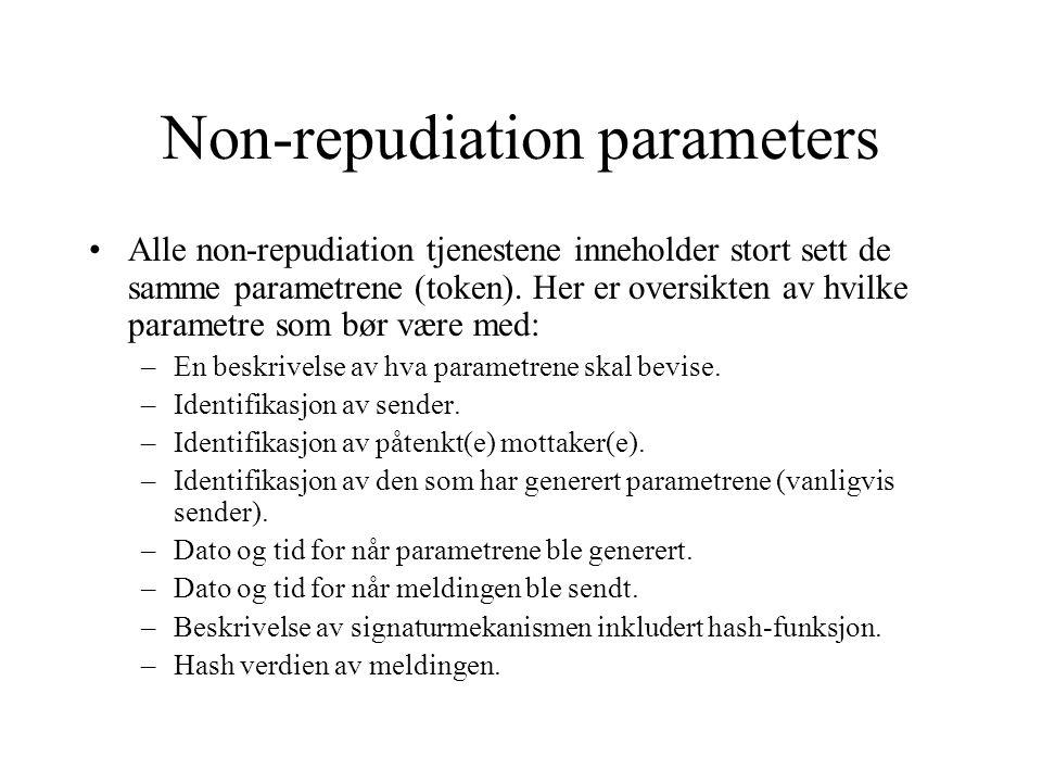 Non-repudiation parameters Alle non-repudiation tjenestene inneholder stort sett de samme parametrene (token).