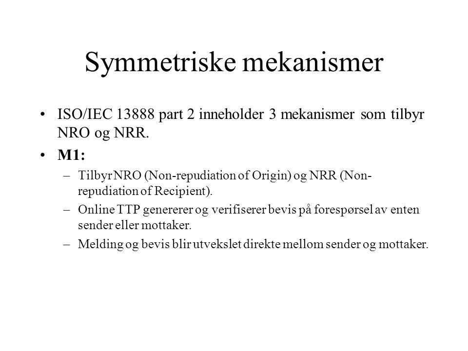 Symmetriske mekanismer ISO/IEC 13888 part 2 inneholder 3 mekanismer som tilbyr NRO og NRR.