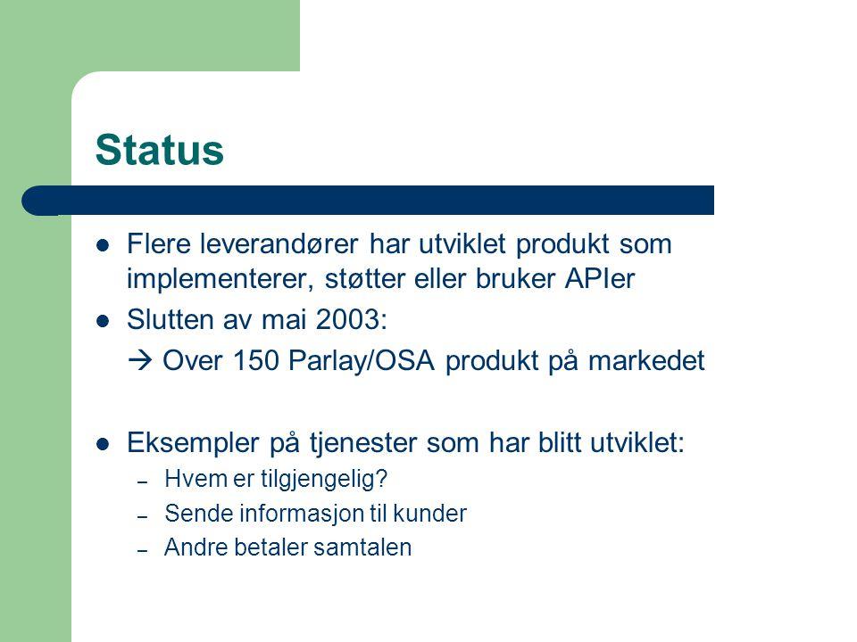 Status Flere leverandører har utviklet produkt som implementerer, støtter eller bruker APIer Slutten av mai 2003:  Over 150 Parlay/OSA produkt på markedet Eksempler på tjenester som har blitt utviklet: – Hvem er tilgjengelig.
