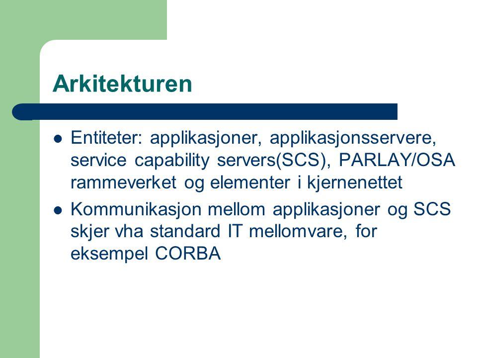 Arkitekturen Entiteter: applikasjoner, applikasjonsservere, service capability servers(SCS), PARLAY/OSA rammeverket og elementer i kjernenettet Kommunikasjon mellom applikasjoner og SCS skjer vha standard IT mellomvare, for eksempel CORBA