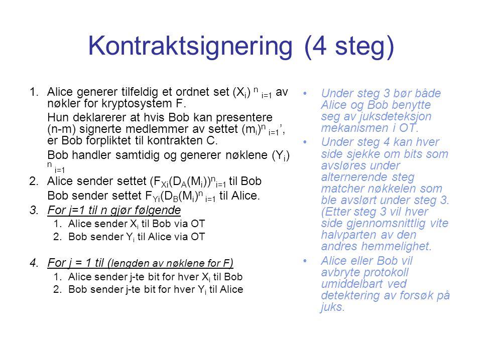 Kontraktsignering (4 steg) 1.Alice generer tilfeldig et ordnet set (X i ) n i=1 av nøkler for kryptosystem F. Hun deklarerer at hvis Bob kan presenter