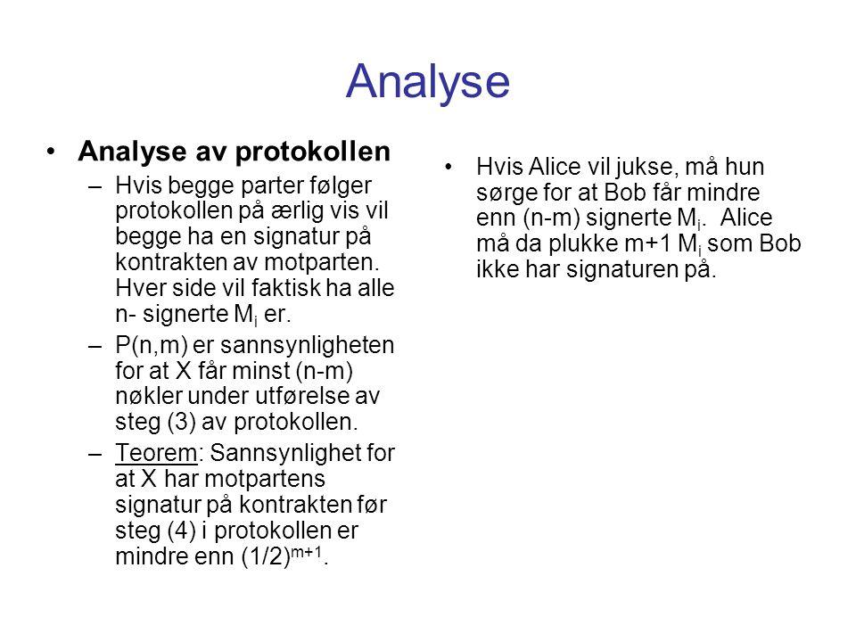 Analyse Analyse av protokollen –Hvis begge parter følger protokollen på ærlig vis vil begge ha en signatur på kontrakten av motparten. Hver side vil f