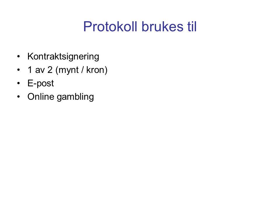 Protokoll brukes til Kontraktsignering 1 av 2 (mynt / kron) E-post Online gambling