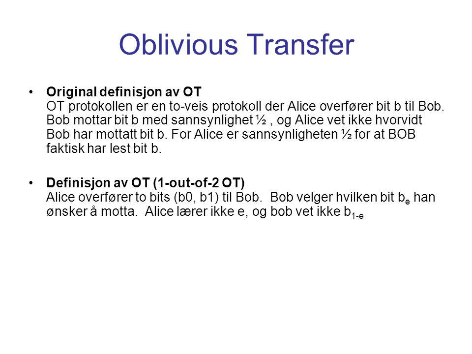 Oblivious Transfer Original definisjon av OT OT protokollen er en to-veis protokoll der Alice overfører bit b til Bob. Bob mottar bit b med sannsynlig