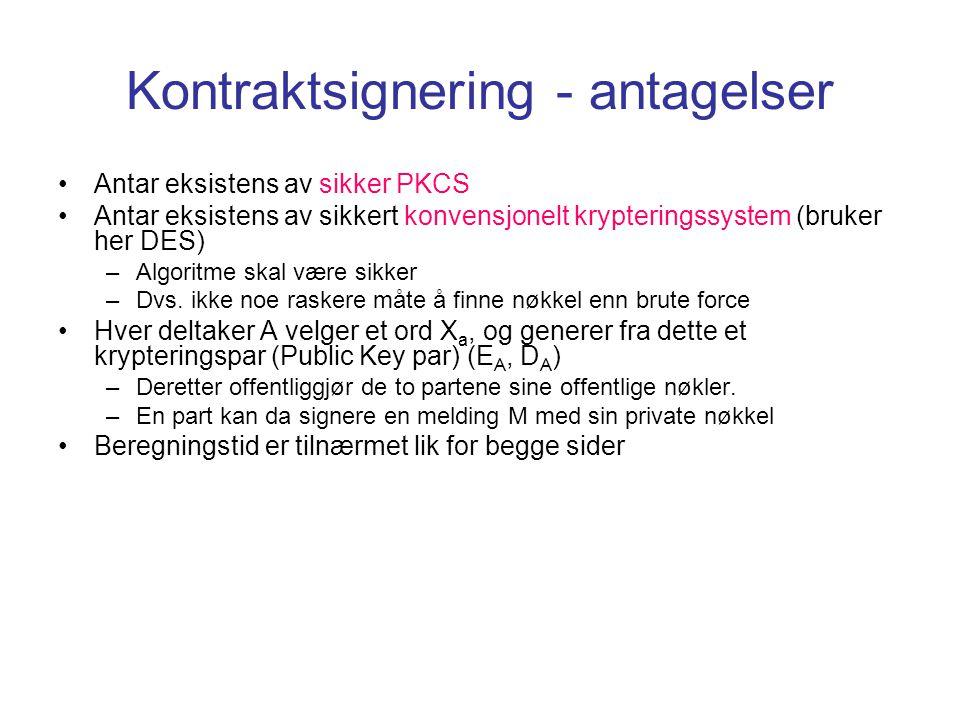Kontraktsignering - antagelser Antar eksistens av sikker PKCS Antar eksistens av sikkert konvensjonelt krypteringssystem (bruker her DES) –Algoritme s