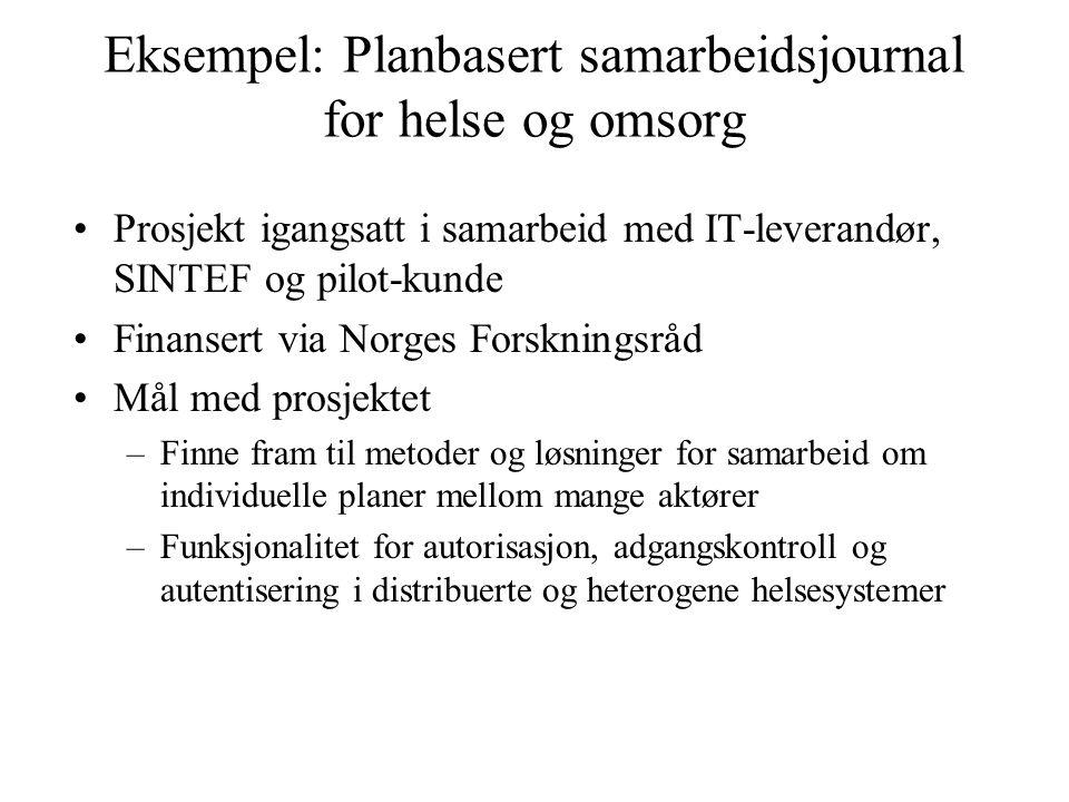 Eksempel: Planbasert samarbeidsjournal for helse og omsorg Prosjekt igangsatt i samarbeid med IT-leverandør, SINTEF og pilot-kunde Finansert via Norge