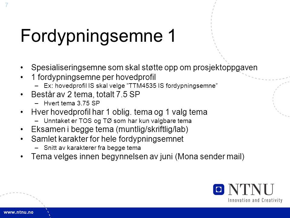 8 Fordypningsemne 2 Tema ved ITEM –TTM1: AK videregående –TTM2: IS, videregående –TTM3: Konstruksjon av selv-adaptive systemer, LAB –TTM4: IKT og samspillet med omgivelsene –TTM5: Nettbaserte samarbeidssystemer –TTM7: Konvergens i IKT –TTM8: Ad hoc nett (UNiK) – kun for 'nett og tjenestekvalitet' v/ UniK –TTM9: Trafikk og pålitelighet, LAB –TIØ3: IKT økonomi – kun for 'teleøkonomi' Mulig å velge tema fra andre institutt http://www.item.ntnu.no/courses