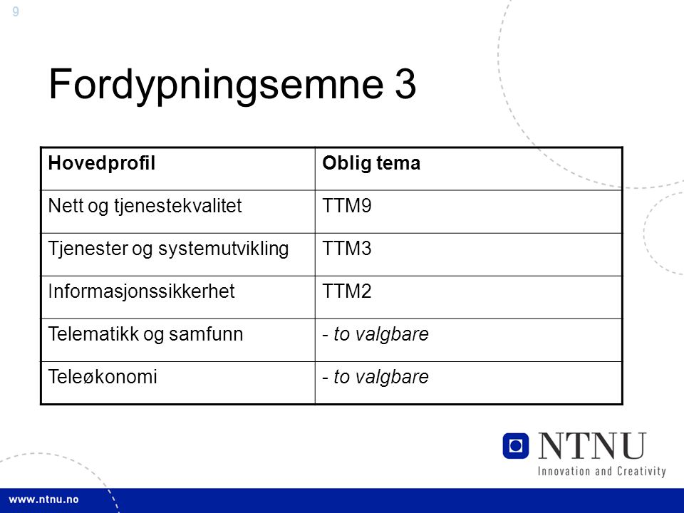 9 Fordypningsemne 3 HovedprofilOblig tema Nett og tjenestekvalitetTTM9 Tjenester og systemutviklingTTM3 InformasjonssikkerhetTTM2 Telematikk og samfunn- to valgbare Teleøkonomi- to valgbare