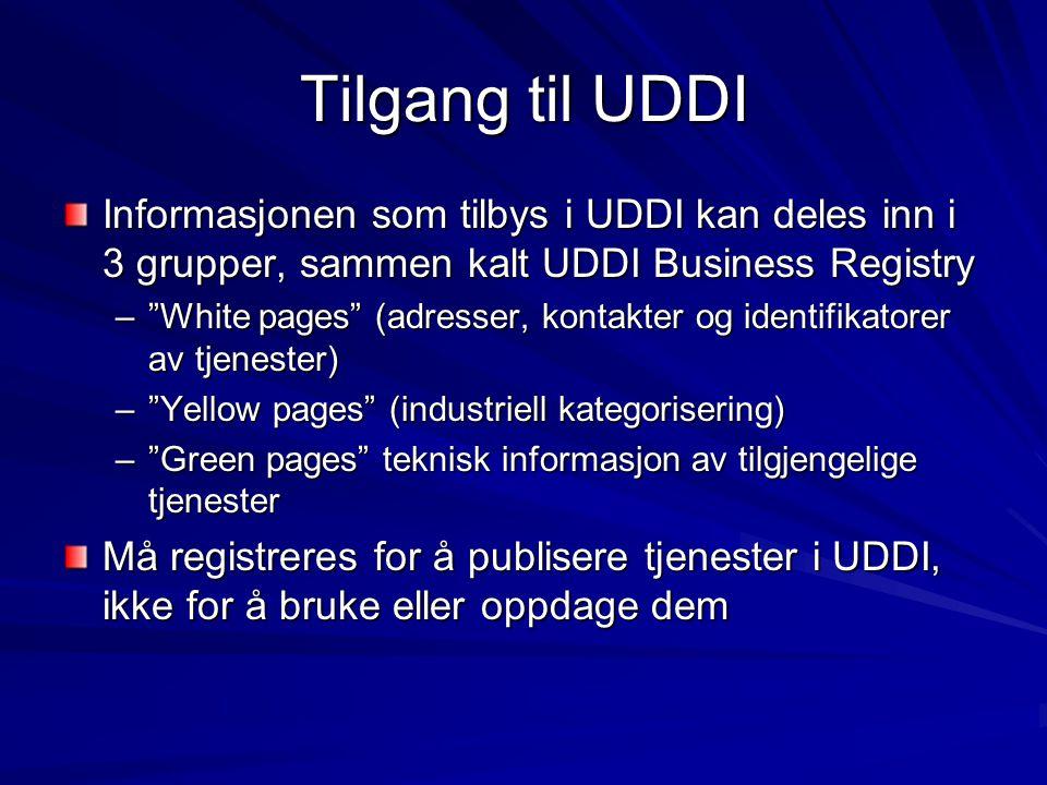Tilgang til UDDI Informasjonen som tilbys i UDDI kan deles inn i 3 grupper, sammen kalt UDDI Business Registry – White pages (adresser, kontakter og identifikatorer av tjenester) – Yellow pages (industriell kategorisering) – Green pages teknisk informasjon av tilgjengelige tjenester Må registreres for å publisere tjenester i UDDI, ikke for å bruke eller oppdage dem