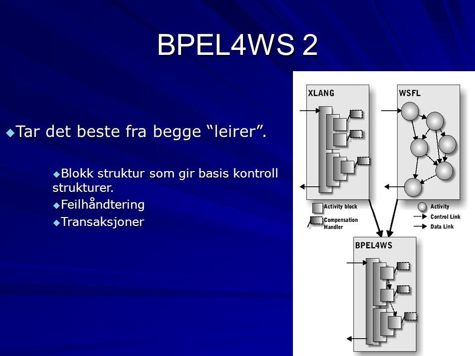"""BPEL4WS 2  Tar det beste fra begge """"leirer"""".  Blokk struktur som gir basis kontroll strukturer.  Feilhåndtering  Transaksjoner"""