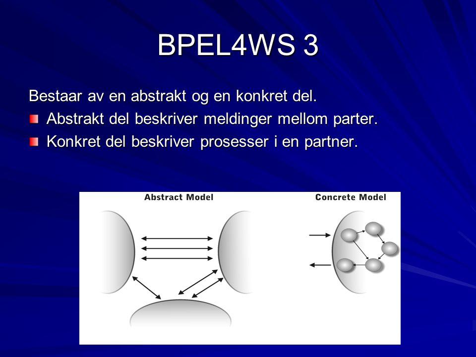 BPEL4WS 3 Bestaar av en abstrakt og en konkret del. Abstrakt del beskriver meldinger mellom parter. Konkret del beskriver prosesser i en partner.