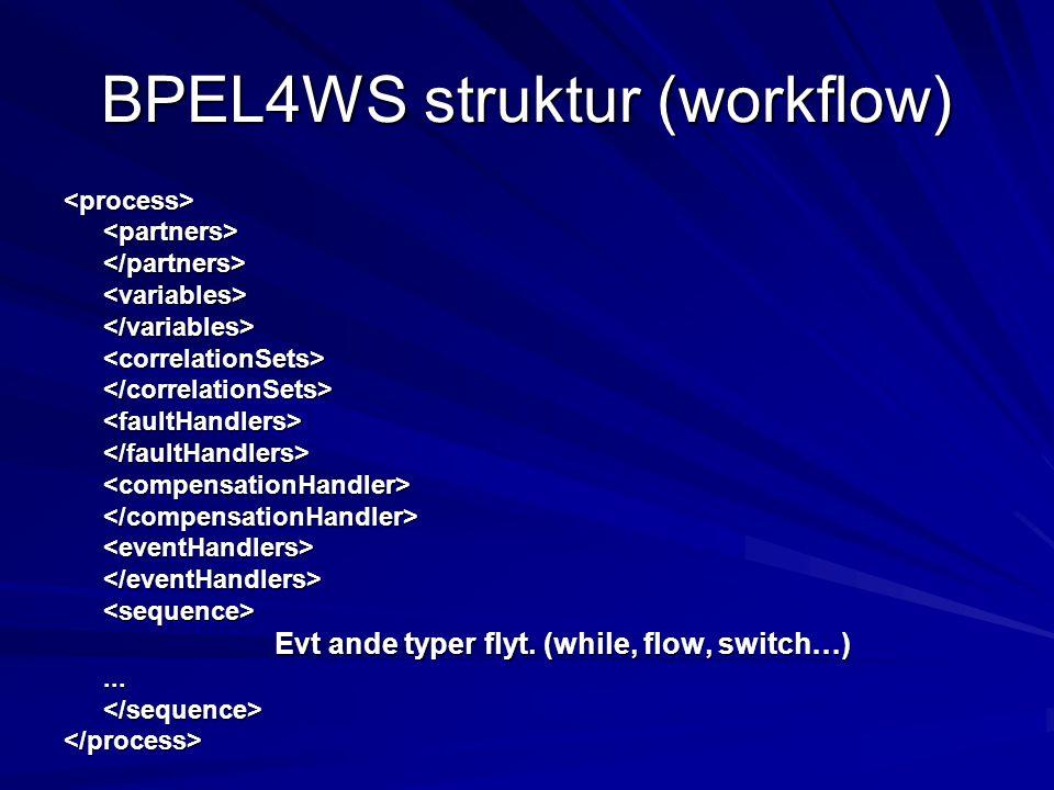 BPEL4WS struktur (workflow) <partners></partners><variables></variables><correlationSets></correlationSets> </faultHandlers><compensationHandler></compensationHandler> </eventHandlers> Evt ande typer flyt.