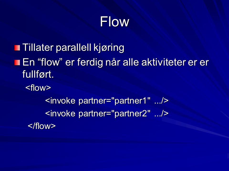 Flow Tillater parallell kjøring En flow er ferdig når alle aktiviteter er er fullført. <flow>