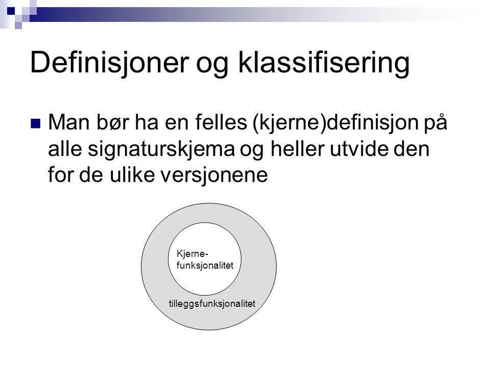 Definisjoner og klassifisering Denne felles definisjonen består av følgende:  Tjenester  Struktur  Grad av sikkerhet