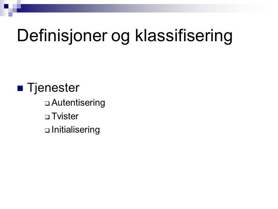 Definisjoner og klassifisering Tjenester  Autentisering  Tvister  Initialisering