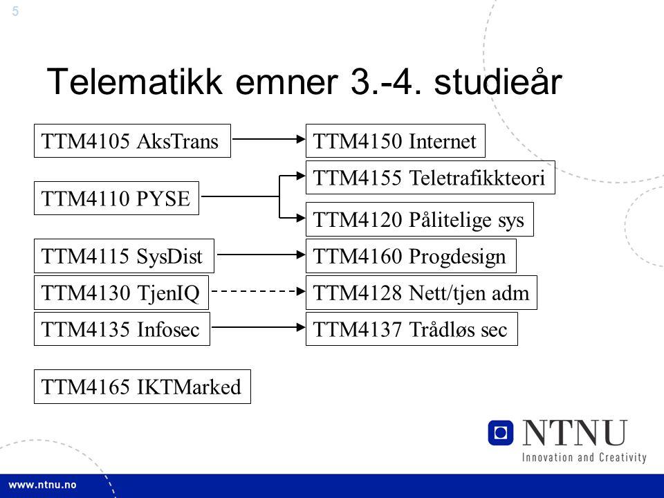 5 Telematikk emner 3.-4. studieår TTM4105 AksTrans TTM4110 PYSE TTM4115 SysDist TTM4130 TjenIQ TTM4135 Infosec TTM4165 IKTMarked TTM4150 Internet TTM4