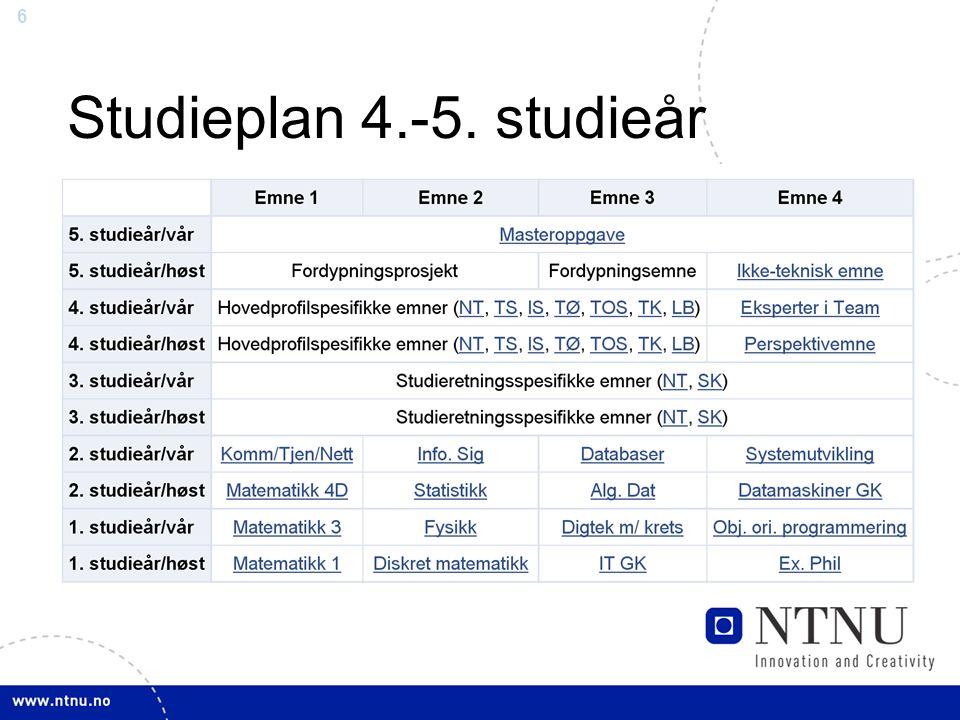 6 Studieplan 4.-5. studieår
