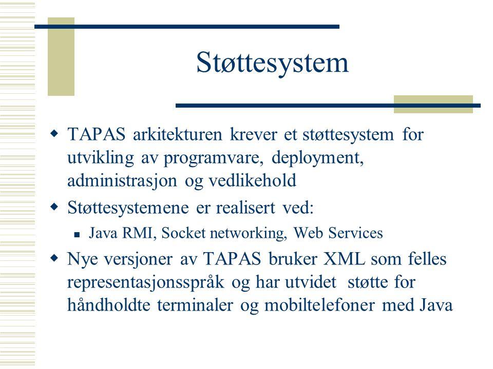 Støttesystem  TAPAS arkitekturen krever et støttesystem for utvikling av programvare, deployment, administrasjon og vedlikehold  Støttesystemene er realisert ved: Java RMI, Socket networking, Web Services  Nye versjoner av TAPAS bruker XML som felles representasjonsspråk og har utvidet støtte for håndholdte terminaler og mobiltelefoner med Java