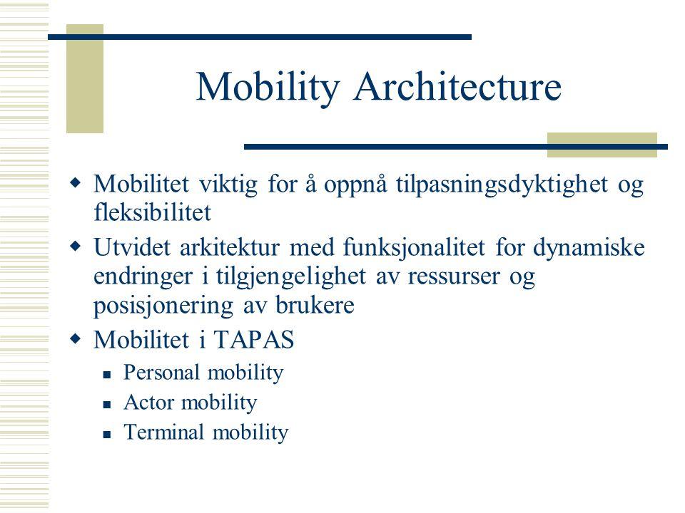 Mobility Architecture  Mobilitet viktig for å oppnå tilpasningsdyktighet og fleksibilitet  Utvidet arkitektur med funksjonalitet for dynamiske endringer i tilgjengelighet av ressurser og posisjonering av brukere  Mobilitet i TAPAS Personal mobility Actor mobility Terminal mobility