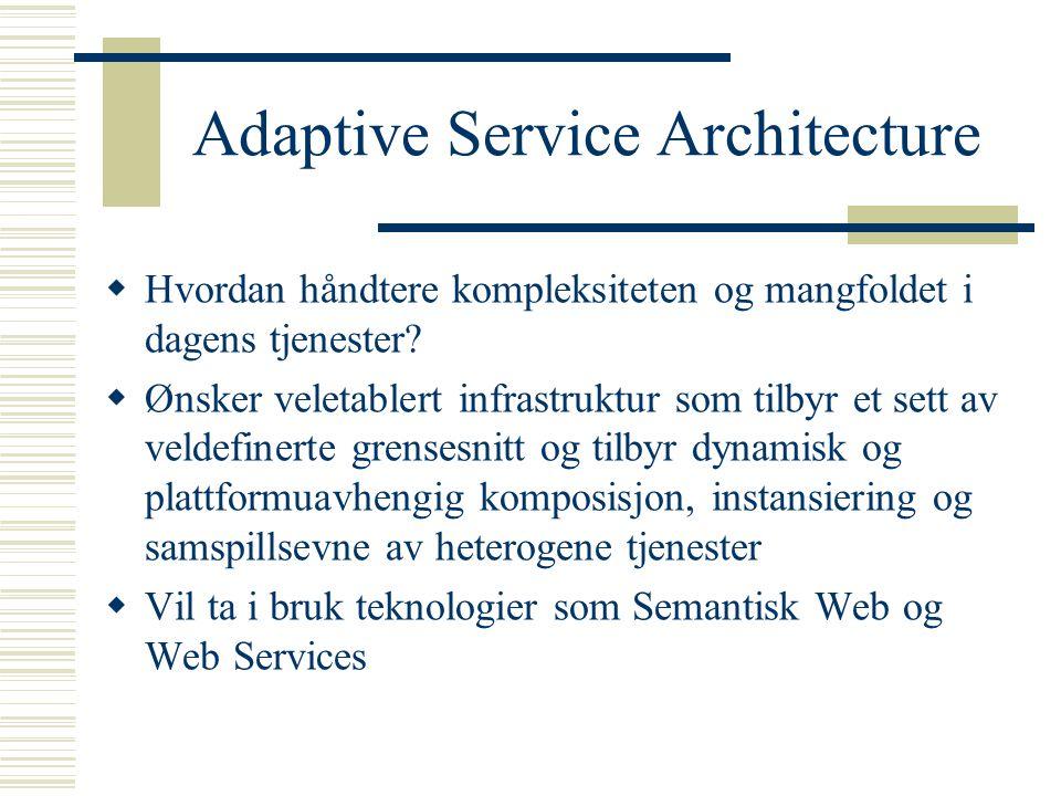 Adaptive Service Architecture  Hvordan håndtere kompleksiteten og mangfoldet i dagens tjenester.