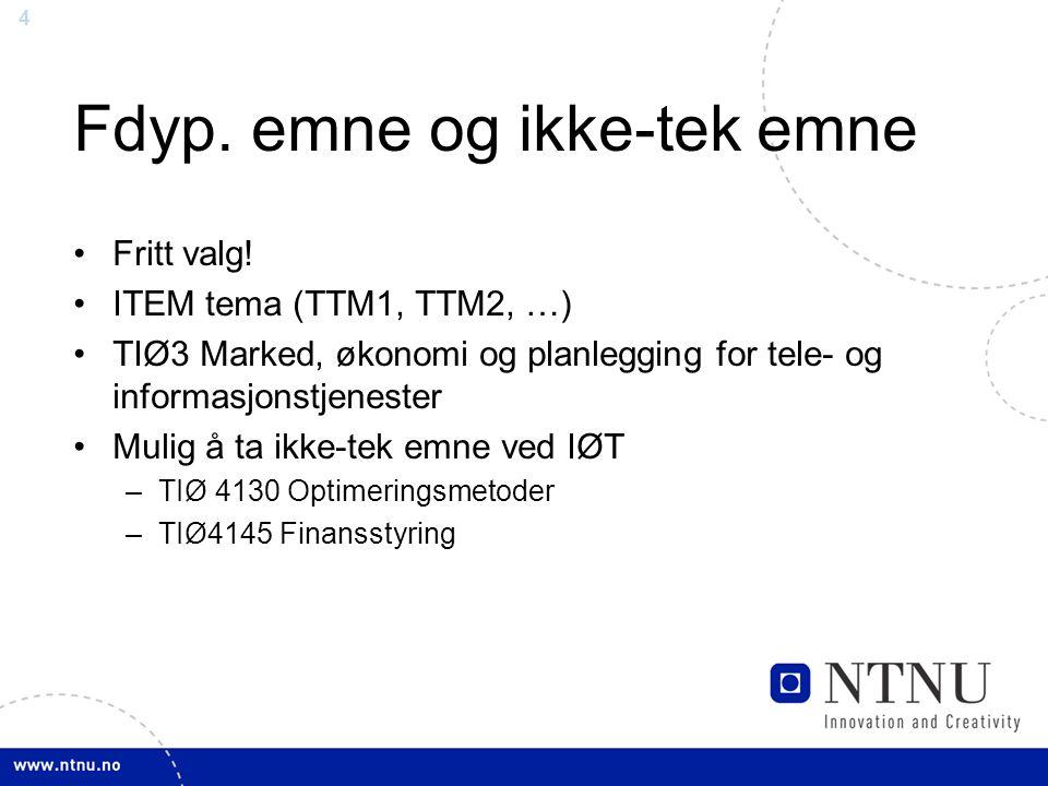 4 Fdyp. emne og ikke-tek emne Fritt valg! ITEM tema (TTM1, TTM2, …) TIØ3 Marked, økonomi og planlegging for tele- og informasjonstjenester Mulig å ta