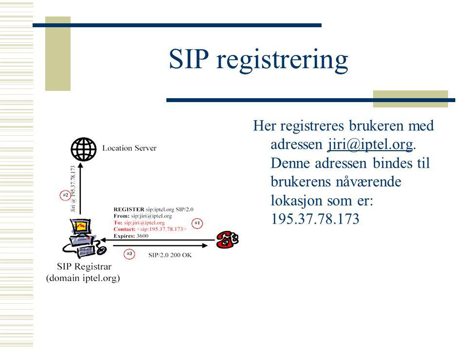 SIP registrering Her registreres brukeren med adressen jiri@iptel.org. Denne adressen bindes til brukerens nåværende lokasjon som er: 195.37.78.173jir