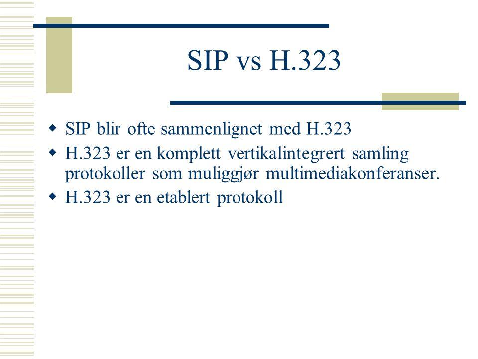 SIP vs H.323  SIP blir ofte sammenlignet med H.323  H.323 er en komplett vertikalintegrert samling protokoller som muliggjør multimediakonferanser.