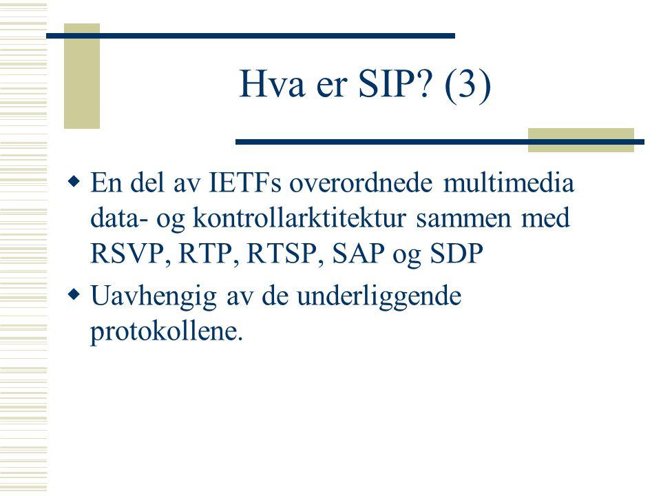 Hva er SIP? (3)  En del av IETFs overordnede multimedia data- og kontrollarktitektur sammen med RSVP, RTP, RTSP, SAP og SDP  Uavhengig av de underli
