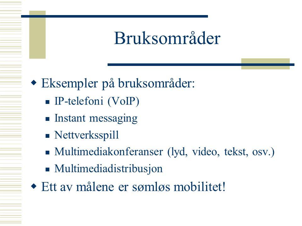 Bruksområder  Eksempler på bruksområder: IP-telefoni (VoIP) Instant messaging Nettverksspill Multimediakonferanser (lyd, video, tekst, osv.) Multimed