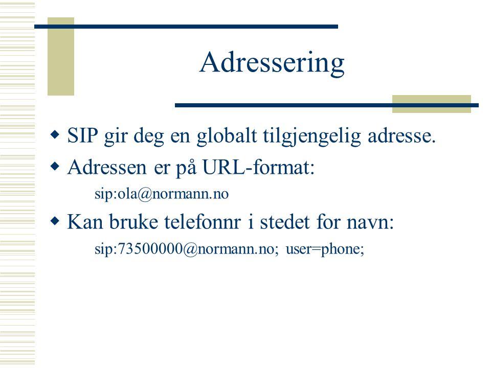 Adressering  SIP gir deg en globalt tilgjengelig adresse.  Adressen er på URL-format: sip:ola@normann.no  Kan bruke telefonnr i stedet for navn: si
