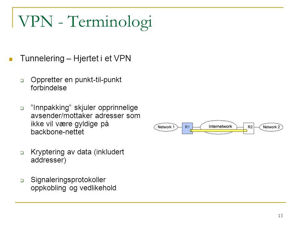 15 VPN - Terminologi Tunnelering – Hjertet i et VPN  Oppretter en punkt-til-punkt forbindelse  Innpakking skjuler opprinnelige avsender/mottaker adresser som ikke vil være gyldige på backbone-nettet  Kryptering av data (inkludert addresser)  Signaleringsprotokoller oppkobling og vedlikehold