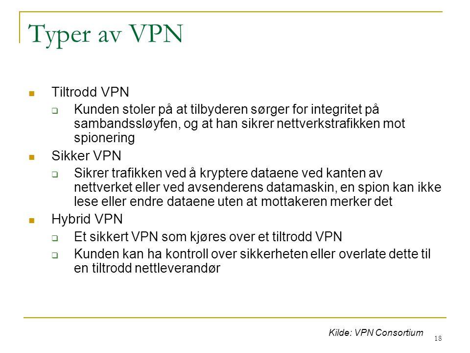 18 Typer av VPN Tiltrodd VPN  Kunden stoler på at tilbyderen sørger for integritet på sambandssløyfen, og at han sikrer nettverkstrafikken mot spionering Sikker VPN  Sikrer trafikken ved å kryptere dataene ved kanten av nettverket eller ved avsenderens datamaskin, en spion kan ikke lese eller endre dataene uten at mottakeren merker det Hybrid VPN  Et sikkert VPN som kjøres over et tiltrodd VPN  Kunden kan ha kontroll over sikkerheten eller overlate dette til en tiltrodd nettleverandør Kilde: VPN Consortium