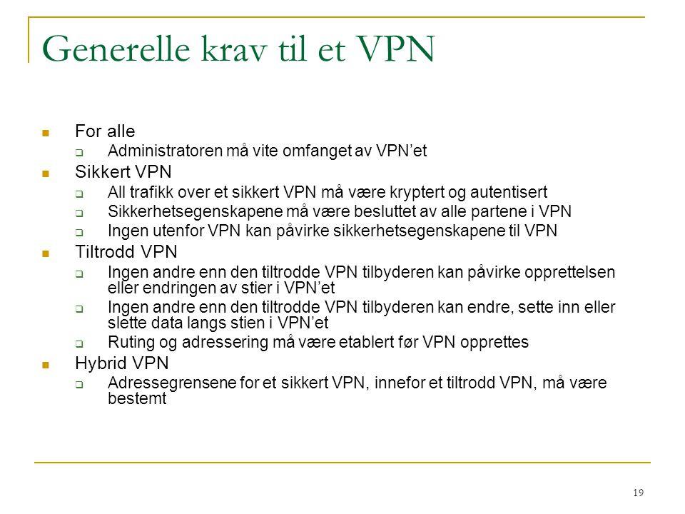 19 Generelle krav til et VPN For alle  Administratoren må vite omfanget av VPN'et Sikkert VPN  All trafikk over et sikkert VPN må være kryptert og autentisert  Sikkerhetsegenskapene må være besluttet av alle partene i VPN  Ingen utenfor VPN kan påvirke sikkerhetsegenskapene til VPN Tiltrodd VPN  Ingen andre enn den tiltrodde VPN tilbyderen kan påvirke opprettelsen eller endringen av stier i VPN'et  Ingen andre enn den tiltrodde VPN tilbyderen kan endre, sette inn eller slette data langs stien i VPN'et  Ruting og adressering må være etablert før VPN opprettes Hybrid VPN  Adressegrensene for et sikkert VPN, innefor et tiltrodd VPN, må være bestemt