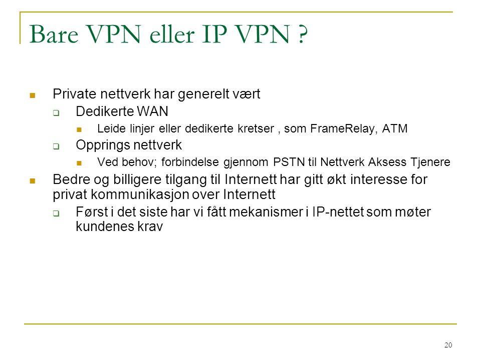 20 Bare VPN eller IP VPN ? Private nettverk har generelt vært  Dedikerte WAN Leide linjer eller dedikerte kretser, som FrameRelay, ATM  Opprings net
