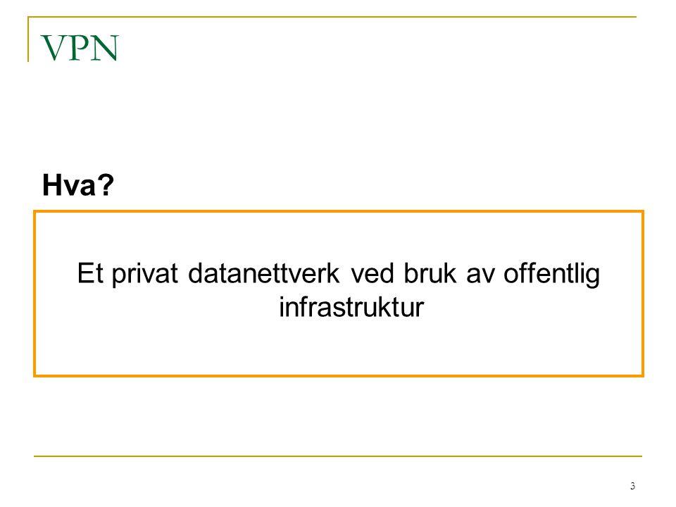 3 VPN Et privat datanettverk ved bruk av offentlig infrastruktur Hva?