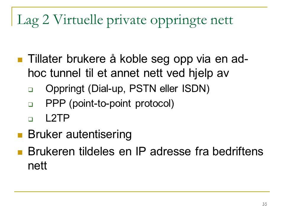35 Lag 2 Virtuelle private oppringte nett Tillater brukere å koble seg opp via en ad- hoc tunnel til et annet nett ved hjelp av  Oppringt (Dial-up, PSTN eller ISDN)  PPP (point-to-point protocol)  L2TP Bruker autentisering Brukeren tildeles en IP adresse fra bedriftens nett